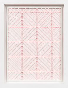Pink Diamonds, 2015 Hand cut paper and acrylic paint 13 1/4 x 17 1/4 inches