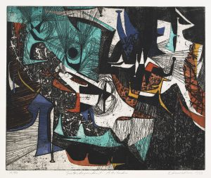 Findlay Galleries Leonard Edmondson Interdependent Attitudes 1953 etching with aquatint on paper