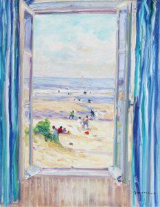 Gaston Sebire beach scene through window Fenêtre aux rideaux bleus