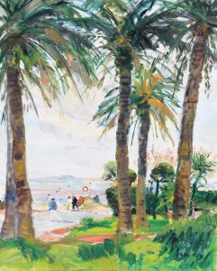 gaston sebire beach scene with palm trees À Cannes